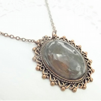 Grey Crystal Filigree Copper Cabochon Necklace. Red Copper Pendant
