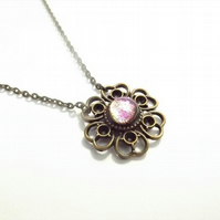 Cerise Pink Glass Flower Pendant