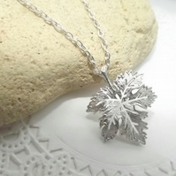 Filigree Maple Leaf Silver Plated Charm Necklace.