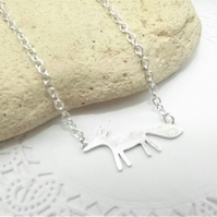 Silver Fox Pendant, Charm Necklace. Fox Jewellery. Silver Plate