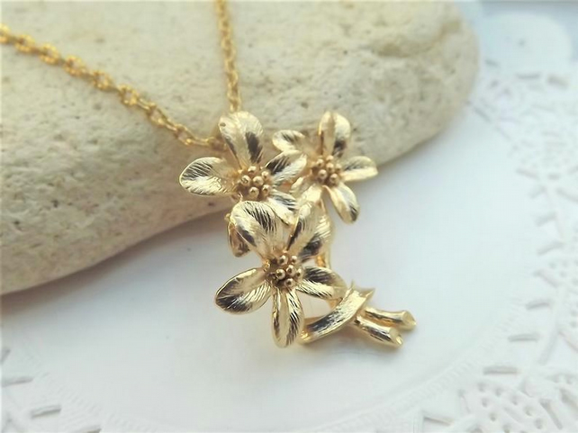 Bouquet of Flowers, Gold Plated Charm Necklace. Pendant Necklace.