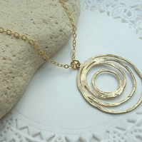 "Circle Textured Gold Plate Charm Necklace. 18"" Length"