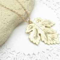 Maple Leaf Charm Necklace in 14K Matt Gold Plate. Leaf Pendant.