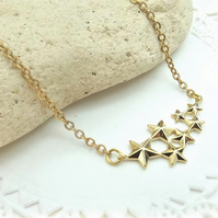 "Star Cluster Pendant. Gold Plate. 18"" Length. Space Jewellery."
