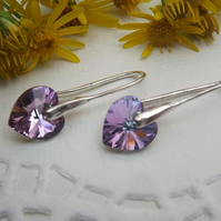 Heart Drop Earrings. Light Purple Pink Silver Heart Earrings