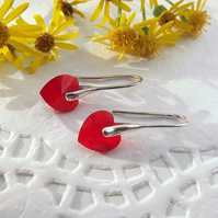 Swarovski 10mm Heart Earrings Red. Silver Earrings