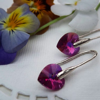 Swarovski Heart Drop Earrings. Bright Fushia Pink Silver Heart