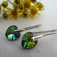 Crystal Heart Drop Earrings. Green Rainbow Silver Heart Earrings.