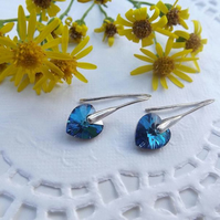 Swarovski Drop Heart Earrings. Blue Silver Heart Earrings