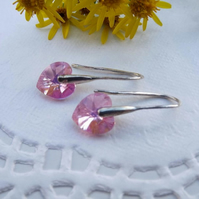 Swarovski 10mm Heart Earrings Pale Pink. Silver earrings