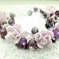 Lilac and White Rose Chunky Beaded Bracelet with adjustable length.
