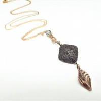 Aromatherapy Perfume Lava Stone Brass Leaf Necklace