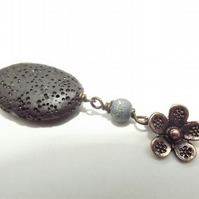 Aromatherapy Perfume Lava Stone Brass and Black Flower Necklace.