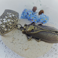 Scarf Jewellery. Scarab Beetle Ancient Egypt. Scarf Slider ring. Brass Tone