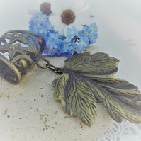 Scarf Jewellery. Leaf Charm. Scarf Slider ring. Bronze tone