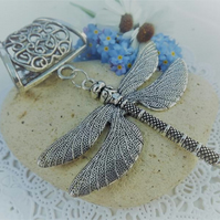 Scarf Jewellery. Dragon Fly. Scarf Slider ring. Silver tone