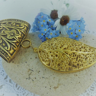 Scarf Jewellery. Ornate Gold Leaf. Scarf Slider ring. Gold Tone