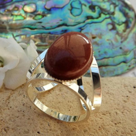 Goldstone Scarf Jewellery. Silver Plate. Scarf Ring. Goldstone Scarf Accessory