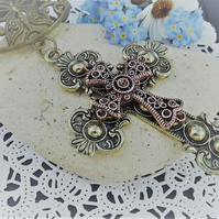 Scarf Jewellery. Scarf Slider. Brass and copper cross. religious Jewellery