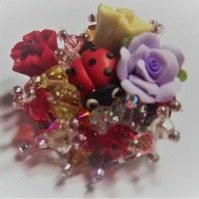 Small Flower Ladybird Brooch. Beaded colourful Brooch.