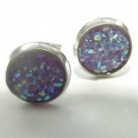 Silver Blue Lilac Druzy Gemstone Stud Earrings. Stud Earrings. Faux Druzy Stud