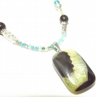 Agate Druzy Pendant. Green and Black Statement jewellery,