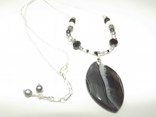 Black and White Agate Pendant on Long Beaded Chain, Statement necklace.