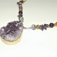 Amethyst Purple Raw Chunky Gemstone Necklace on beaded chain