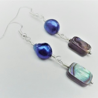 Abalone and Pearl Drop Earrings.  Silver Plated Dangle Earrings.  Blue Pearl and