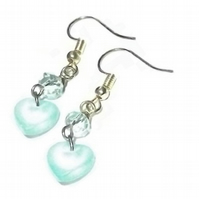 Turquoise Sea Glass and Crystal Heart Earrings.  Drop earrings.  Silver Plated.