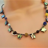 Abalone Star Solar System Necklace in Gemstones and beads.
