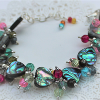 Chunky Abalone Heart and Glass Charm Adjustable Bracelet
