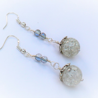 Clear Crackle Glass Long Drop Silver Plate Earrings