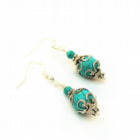 Turquoise Bead Gemstone Earrings.