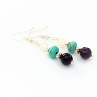 Amethyst, Turquoise and Opalite Beaded Drop Earrings.