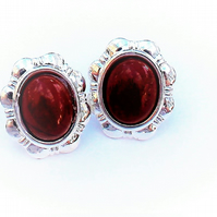 Red Brown Jasper Clip on Daisy Earrings.