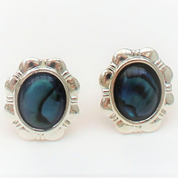 Blue Abalone Clip on Daisy Earrings
