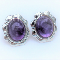 Amethyst Gemstone Daisy Clip on Earrings