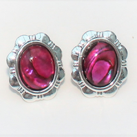 Cerise Pink Abalone Clip on Daisy Earrings.