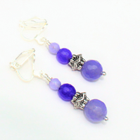 Purple and Lilac Alexandrite Beaded Clip on Earrings