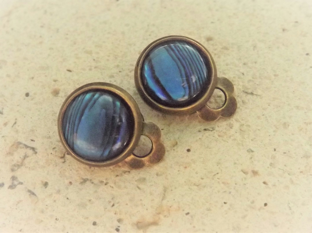 Blue Abalone Clip on Earrings - Natural Shell Clip Earrings, Brass Round Clips