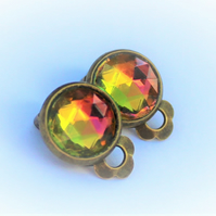 Watermelon Coloured Glass Clip on Earrings - Colour Changing Sparkly Round Brass
