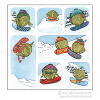 Pack of 12 Snowboarding Sprouts Cards