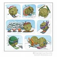 Pack of 12 Skiing Sprouts Cards