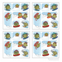 Pack of 4 Snowboarding Sprouts Cards