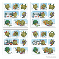 Pack of 4 Skiing Sprouts Cards