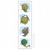 Skiing Sprouts Bookmark