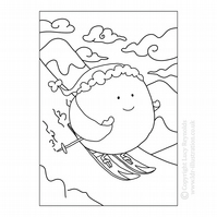 Colour Me In Card - Skiing Sprout