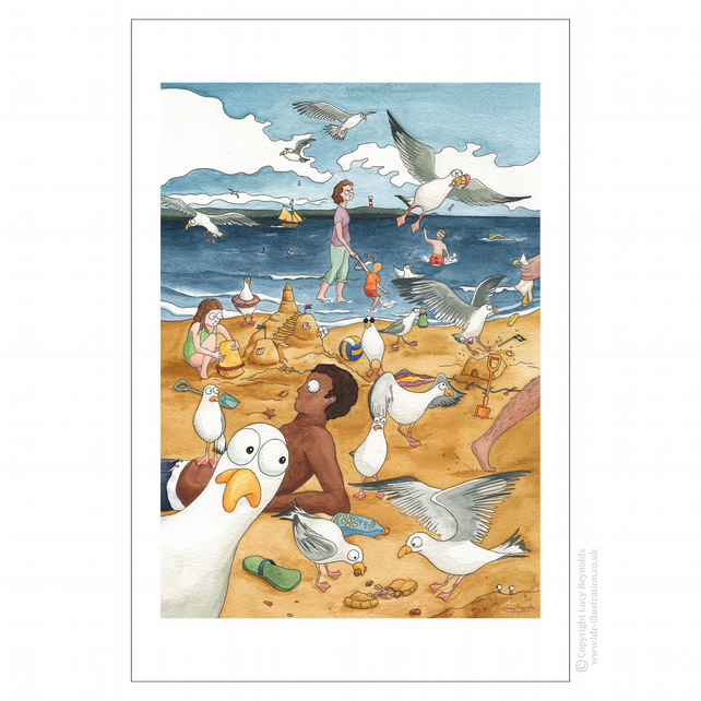 Sneaky Seagulls Tea Towel