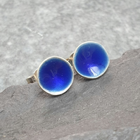 Blue enamel earrings, Cobalt blue studs, Ocean inspired